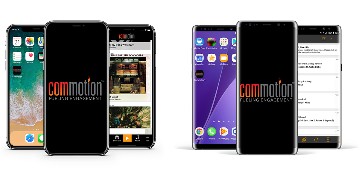 Commotion mobile apps running on an iPhoneX and Note 8
